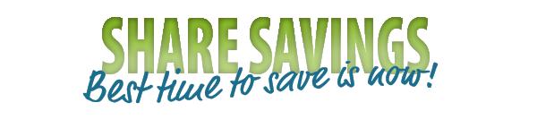 "Green ""share savings"" banner"