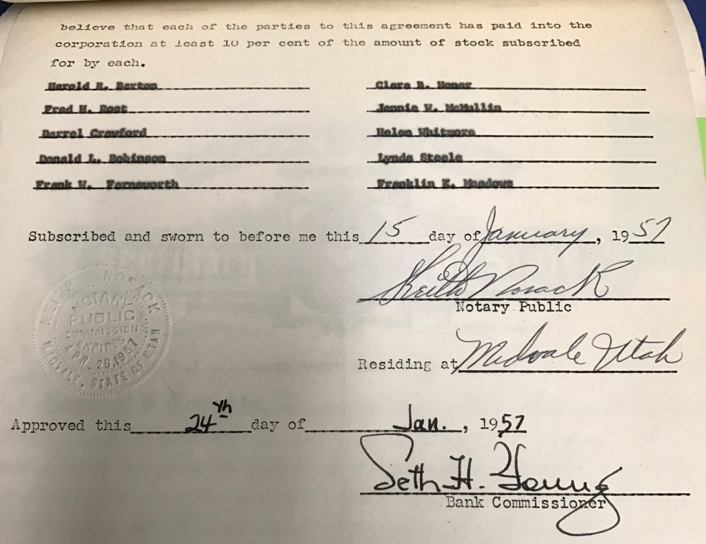 Articles of incorporation from 1957 with 10 signature of credit union founders