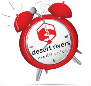 Red alarm clock with drcu logo